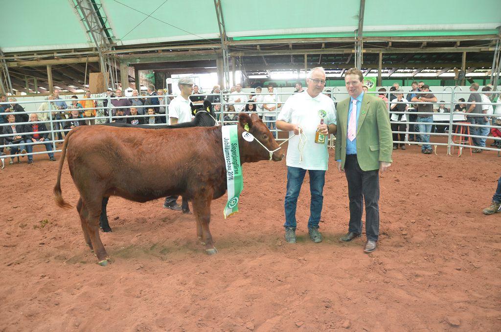 Ein herausragender Erfolg für den Angus-Züchter Karl-Heinz Krach aus Odensachsen. Preisrichter William Mc Larenaus Schottland stellte seine Färse BOW Elli an die Spitze der Jungrindergruppe. Bei der anschließenden Auktion ging Elli für den Höchstpreis des Tages von 4400 € an einen nordhessischen Züchter.