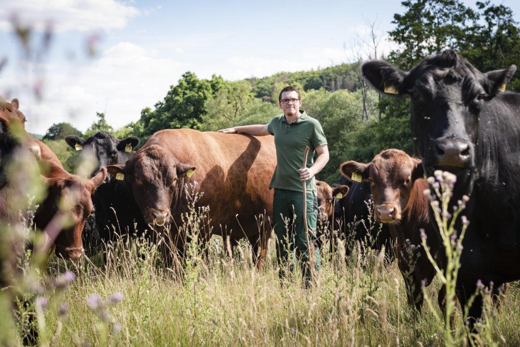 Felix, inmitten seiner Rinderherde (Bildquelle: ©Timo Jaworr für agrarheute)